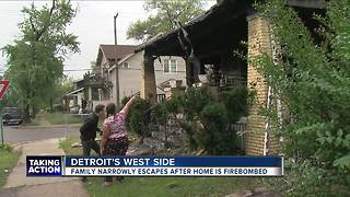 Detroit family narrowly escapes after home is firebombed - Video