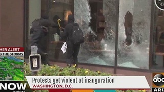National inauguration protests turn violent