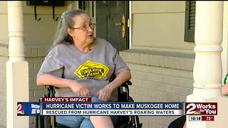 Hurricane Harvey victim works to make Muskogee home after losing everything - Video