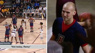 Male Arizona Cheerleader EJECTED for Heckling Arizona State Free Throw Shooter - Video