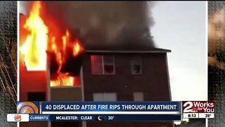 40 displaced after fire rips through apartment in Dallas