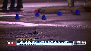 Teen seriously hurt in two vehicle crash - Video