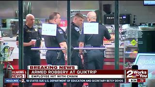 QuikTrip clerk hit with chain during robbery - Video