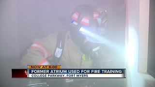 Former atrium building being used for fire training - Video