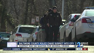 Baltimore County Police chase suspect into city