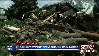 Tree crushes home in Okmulgee storms - Video