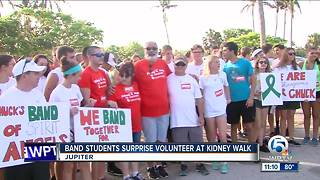 Students give band volunteer a nice surprise at kidney walk - Video