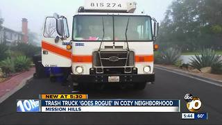 Trash truck goes rogue in Mission Hills - Video