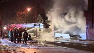Cleveland firefighters battled a 3-alarm fire inside a commercial building that sent smoke for miles - Video