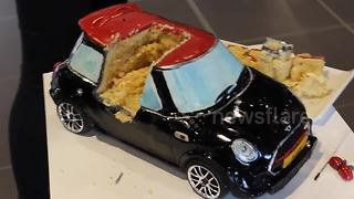 Baker creates radio controlled Mini Cooper cake - Video