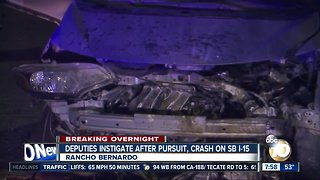 Driver fleeing from sheriff's deputy crashes on I-15 - Video