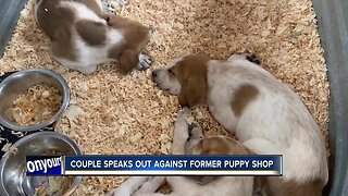 Couple speaks out against former puppy shop