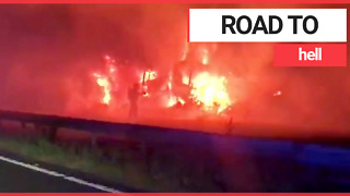 Three Lorries Engulfed In Flames on M40