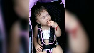 Toddler Girl Falls Asleep While Eating A Snack - Video