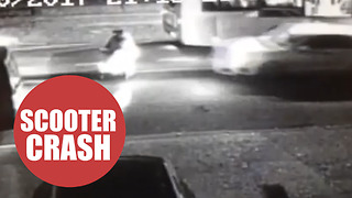 Shocking footage of a woman on mobility scooter smashed with car - Video