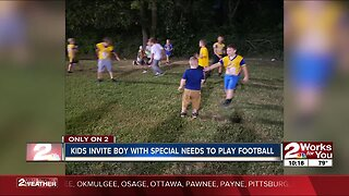 Kids invite boy with special needs to play football