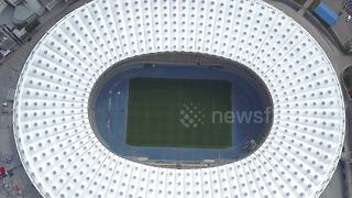Drone footage of Champions League final stadium in Kiev - Video