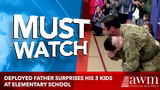 Deployed Father Surprises His 3 Kids at Elementary School's Morning Assembly - Video