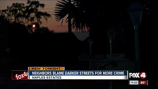 Crime concerns in Naples neighborhood with broken street lights