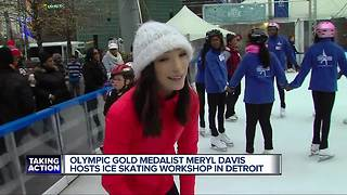 Olympic gold medalist Meryl Davis hosts ice skating workshop in Detroit - Video