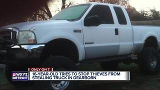 16-year-old tries to stop thieves from stealing his dad's pickup truck - Video