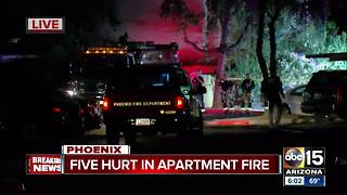 Five hurt in north Phoenix apartment fire - Video