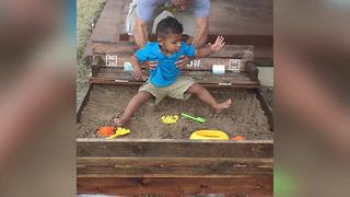 A Tot Boy Doesn't Want To Get Dirty In A Sandbox - Video