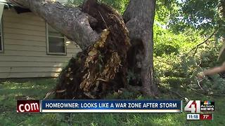 KCK woman recounts roof falling in during storm - Video