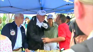 President Trump Hurricane Food Line - Video