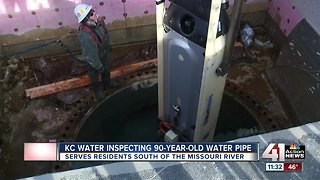 KC Water inspecting 90-year-old water pipe - Video