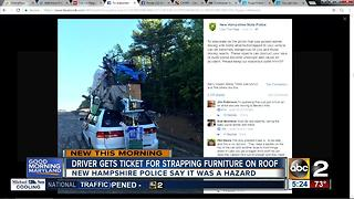 Driver ticketed for strapping furniture on roof - Video