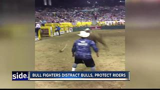 Bull fighting duo distracts bulls, protects riders - Video