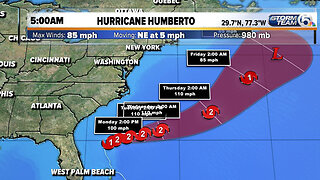 Humberto now a Category 1 hurricane with 85 mph winds