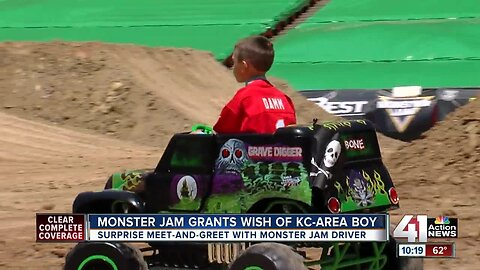 'Above and beyond': Boy with cerebral palsy gets his wish, meets Monster Jam driver