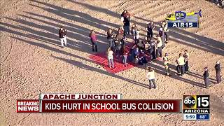 2 children taken to hospital following school bus crash in Apache Junction - Video