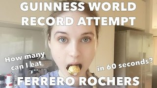 Attempt to Break World Record for Ferrero Rochers Eaten in a Minute - Video