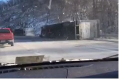Multiple Tractor-Trailers Blown Over in Virginia - Video