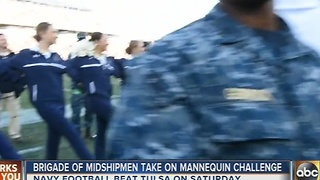 Midshipmen do the mannequin challenge