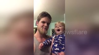 Baby's beatbox is almost as good as dad's - Video