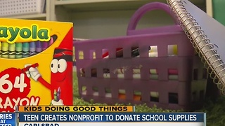Teen creates non-profit to donate school supplies - Video
