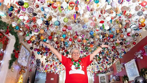 Belle of the bauble! Gran spends four months hanging 2,000 baubles worth £15,000 from living room ceiling