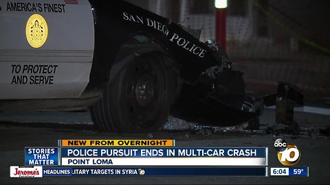 SDPD vehicles involved in crash during pursuit