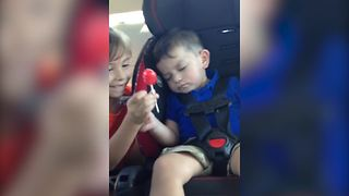 Little Girl Tries To Pull A Joke On Her Sleepy Brother