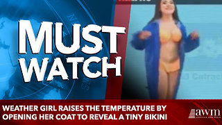 Weather girl raises the temperature by opening her coat to reveal a tiny bikini - Video