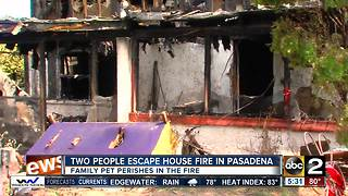 Family dog dies in fire Wednesday night in Pasadena - Video