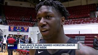 Oakland's Kendrick Nunn named Horizon League Player of the Week after 38-point performance - Video