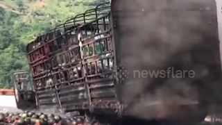 Hundreds of watermelons go up in flames in lorry crash - Video