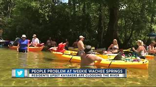 Residents upset kayakers are clogging Weeki Wachee Springs - Video