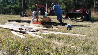 Cutting Beams With Our Timbery Sawmill