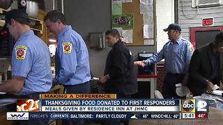 Hotel prepares and delivers a Thanksgiving meal to first responders in Baltimore - Video